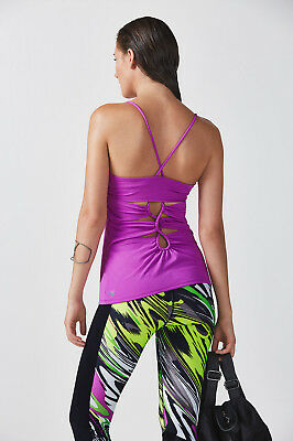26d27ca5f5212 Fabletics Bailey Purple Sleeveless Padded Bra Open Back Tank Top Size Small  S