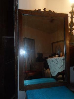 Antique LG.Hand-Carved Wood Framed Wall Hanging Victorian Beveled Glass Mirror