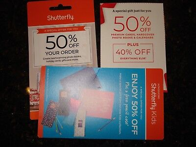 LOT OF 3 Shutterfly 50% Off Promo Coupons & PENCIL CASE  Exp 12/31/2018
