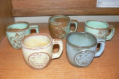 Boy Scouts Of America 5 Frankoma Coffee Mugs, 2 - 1969 National Jamboree Idaho