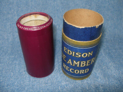 """Edison Royal Purple Cylinder Phonograph Record # 29072 """"the Old Fireside"""""""