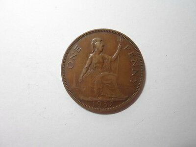 Old Great Britain Coin - 1937 Penny - Circulated