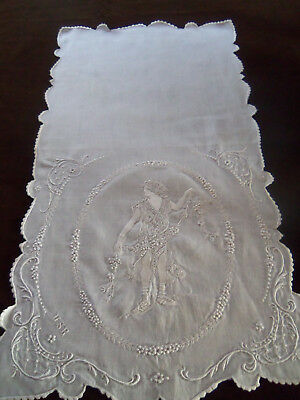 Exquisite  Antique Appenzell Embroidered Tea Towel Table Topper Monogrammed