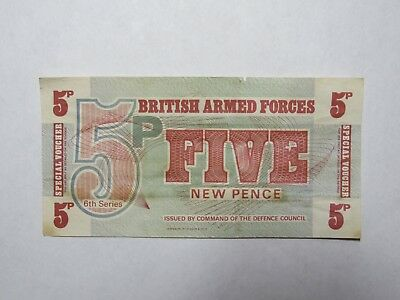 Old Great Britain Paper Money Currency - #M44 5 New Pence - Nice Circulated