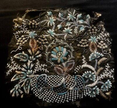 """Early XIX Cen. Antique Exceptional Beaded Padded Embroidery Panel 14 1/2"""" x 15"""""""