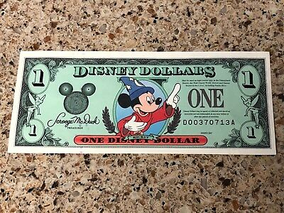 Disney Dollar $1 1997 Series D Sorcerer Mickey Crisp!