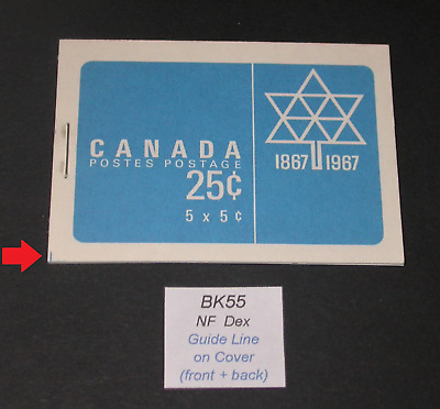 BK55 with Guide Line on Covers variety ~ Canada Centennial Booklet Stamps