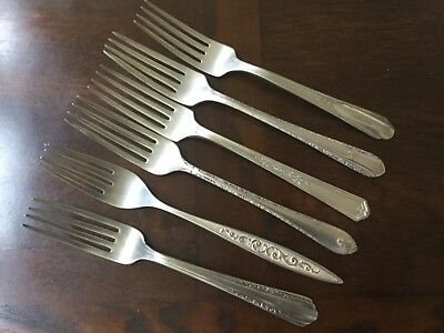 Mixed Lot of 6 Silverplate Dinner Forks, various patterns craft upcycle, no mono