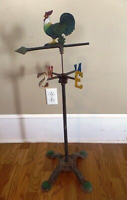 Primitive Antique Rooster Weather Vane Painted Metal Cast Iron Base
