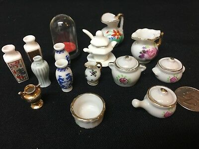 Dollhouse Miniatures Vintage Lot Ceramic Vases Kitchen Dishes Glass 22 Piece