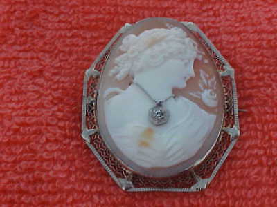Antique Victorian 14kt Gold, Diamond & Carved Shell Cameo Brooch Pendant