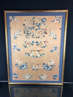 Marvelous Antique Chinese Textile with Peking Knot Butterflies & Flowers
