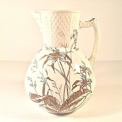 Antique Aesthetic Movement Xl Jug Pitcher Vase Brn Transferware Floral Dragonfly