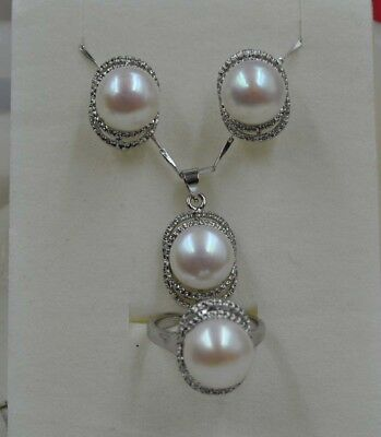 Natural Rare white 11mm freshwater pearl necklace earing &ring set J15355