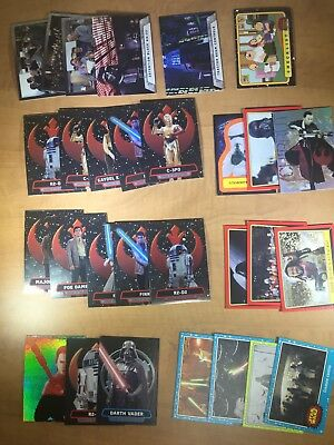 Lot of 99 STAR WARS Cards - Assorted series - 3 rare Refractor Cards - Topps