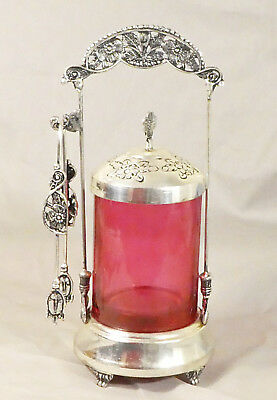 Cranberry Glass Pickle Jar-With Tongs With Intricate Embossed Metal