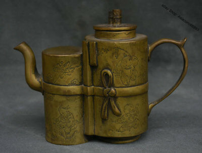 13CM Old Marked Chinese dynasty palace Copper Child Handle Teapot Teakettle