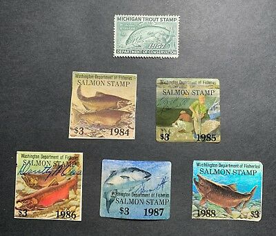 WTDstamps - MICHIGAN 1957... State Trout Salmon StampS - Mixed Condition - Lot