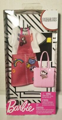 BARBIE Fashion Pack Doll Clothes PEANUTS SNOOPY Girls Pink Dress Purse  IN HAND