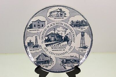 Vintage Plate Celebrating Clear Lake Wisconsin Centennial WI 1975