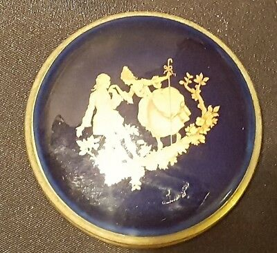 GREAT XMAS GIFT - LIMOGES POWDER COMPACT- COBALT BLUE AND 24k GOLD GILT - SIGNED