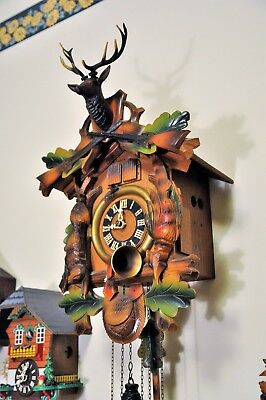 Hunter Style Cuckoo Clock with Elk on Crown; Musical; (See Video)