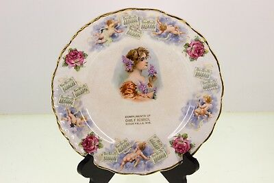 Vintage River Falls WI Wisconsin Calendar Plate Advertising Collector 1911