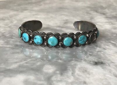 Old Navajo Sterling Silver 7 Turquoise Row Bracelet