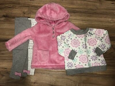Baby Girl Clothes 0-3 Months Outfit Lot 4 Pcs Winter Fuzzy Furry Warm Sweater