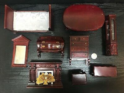 Dollhouse Miniatures Vintage Lot Furniture Mahogany Bed Dressers Table 10 Piece