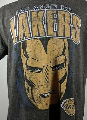 Los Angeles Lakers Marvel Comics Iron Man Shirt L NBA LA