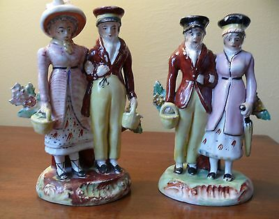 Rare Pair of Staffordshire Dandies Figures Figurine early 1800s