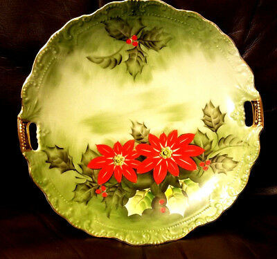 Vintage lefton limited edition Christmas Poinsettia  hand painted plate 4393 9''
