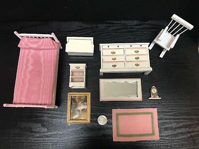 Dollhouse Miniatures Vintage Lot Girls Bedroom Furniture Dresser Degas 9 Piece
