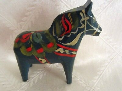 Vintage  Swedish Dala horse hand carved and hand painted  in blue