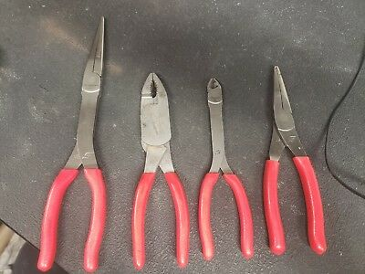 Snap On Tool 4PC pliers Set RED Soft Grip Diagonal Cutter Needle Nose slipjoint