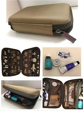 Taipei TAIWAN China Airlines FirstClass Amenity Kit Olive HARD Shell TRAVEL CASE
