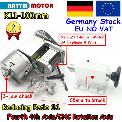 【EU】CNC Router K11-100 3 Jaw Chuck 100mm 4th Fourth Axis Rotary A Axis+Tailstock