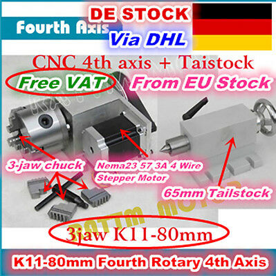K11-80mm Rotation Fourth 4th Axis 3 Jaw Chuck&Tailstock for CNC Router Ratio 6:1