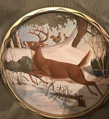 James L Artig Hand Painted Round Serving Tray Beautiful Deer Signed Animals