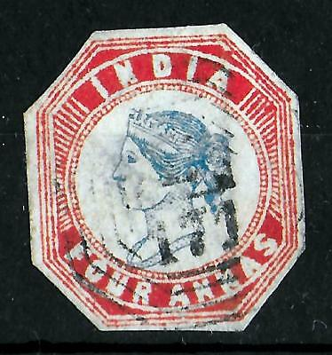 INDIA 1854-1855 Used 4 Anna Red & Blue Imperf Unchecked for Type