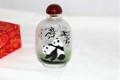 Vintage Signed Chinese Glass Snuff Bottle Japanese Inside Painted Tobacco Box