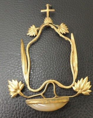 Antique French Mother Of Pearl Gold Gilt Ormolu Wall Display Plaque Holy Font