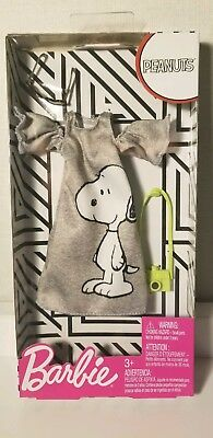 BARBIE Fashion Pack Doll Clothes PEANUTS SNOOPY Gray Shirt Dress w/Purse IN HAND