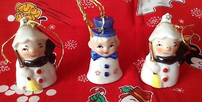 Lot of 3 Vintage Mini Ceramic Snowman Bell Ornaments Japan