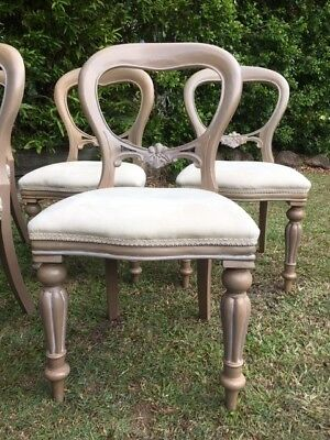 Set Of 8 Victorian Antique Style Restored Balloon Back Dining Chairs, c1970
