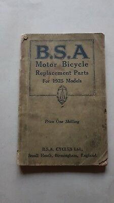 BSA Motorcycles modelli 1925 catalogo ricambi originale spare parts catalogue