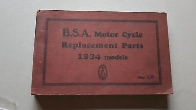 BSA Motorcycles modelli 1934 catalogo ricambi originale spare parts catalogue