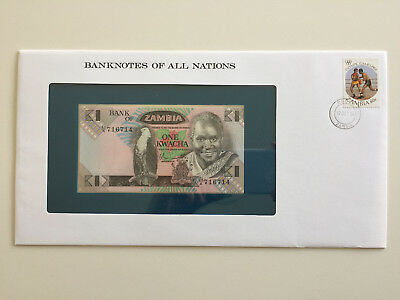 Banknotes of All Nations – Zambia one kwacha UNC