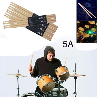 "1-10 Pairs 5A Drum Sticks 16"" Beginners Practice Bulk Maple Wood DrumSticks UK"